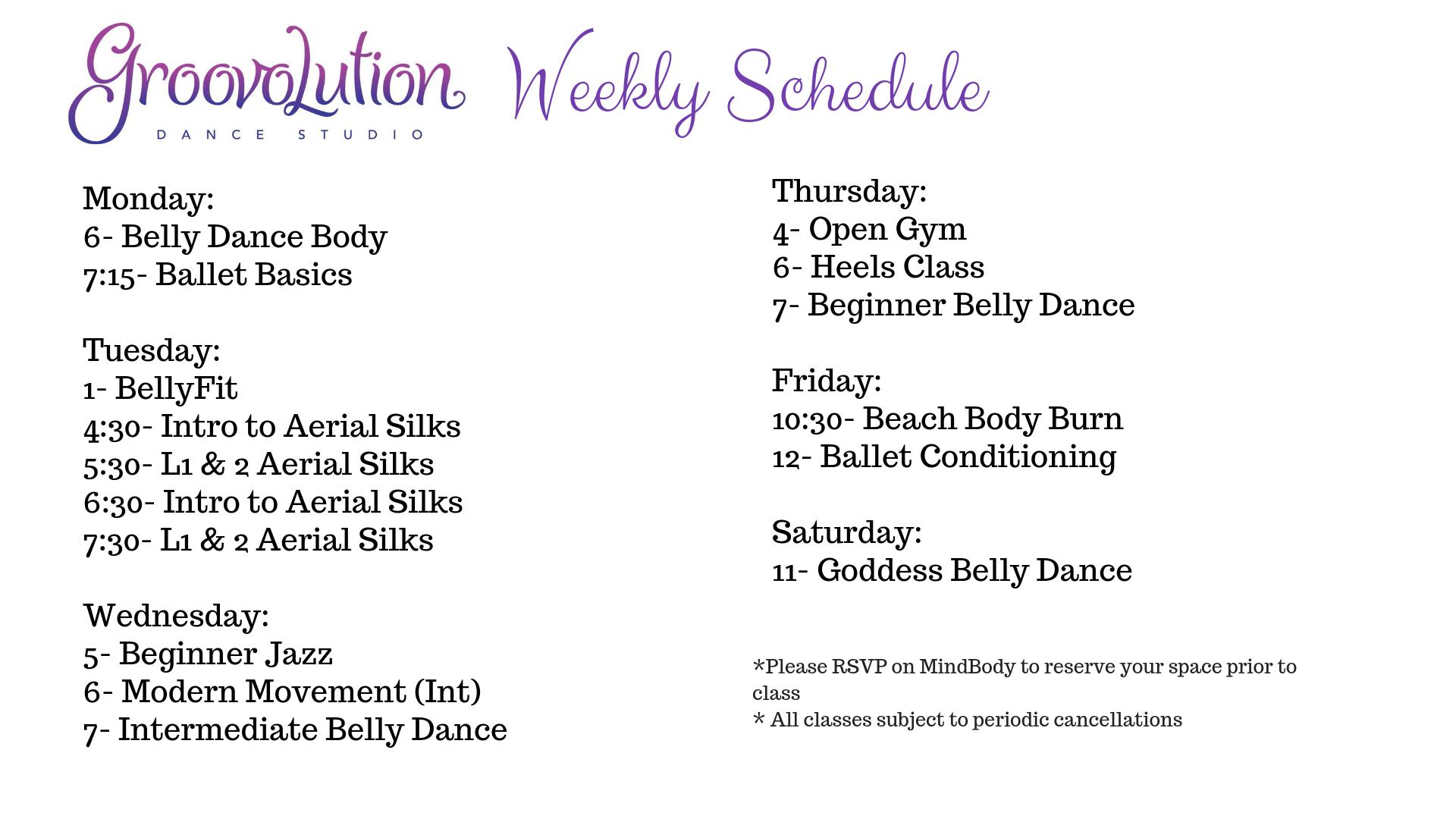 Weekly Schedule- April Update